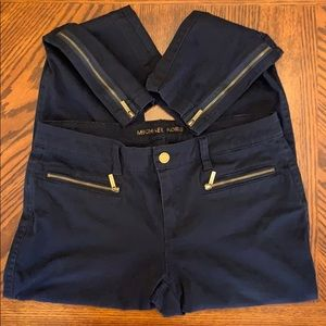 MICHAEL KORS Navy Zippered Pants